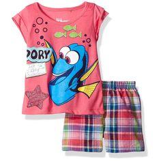 Disney Girls' 2 Piece Finding Dory Short Set, Dory Pink, 4T. Glittered screen-print. Elastic all around waist. Super cute.