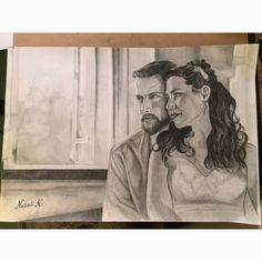 Family love art black and white drawing pencil portrait wedding couple