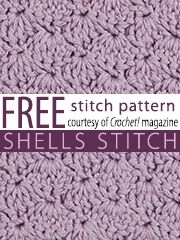 Free Shells Crochet Stitch Pattern from Crochet! magazine. Download here: http://www.crochetmagazine.com/stitch_patterns.php?page=1