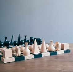 Elevate your chess game with this official reissue of the 1920s set designed by experimental, avant-garde artist Man Ray. Reimagined, conceptually shaped game pieces and chess board made in Germany from sustainable wood from the Black Forest region.