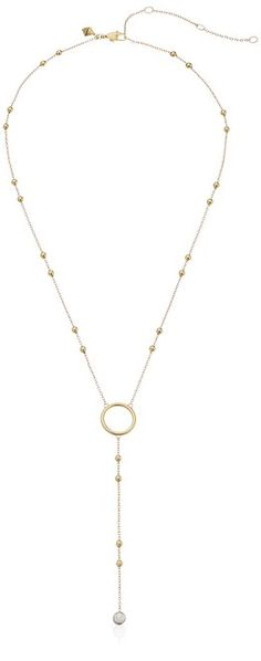 Rebecca Minkoff Open Circle Beaded Lariat Y-Shaped Necklace