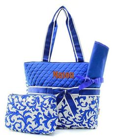 Personalized Damask Floral Quilted 3pc Diaper Bag - Royal Blue