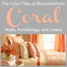 Coral is my favorite color! It's a retro color that is hot again! Check out these gorgeous examples of coral decor, complete with paint colors! Coral Color Decor, Pastel Paint Colors, Coral Bedroom, Bedroom Paint Colors, Bedroom Decor, Master Bedroom, Living At Home, My Living Room, Coral Walls