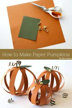 How to Make Paper Pumpkins - Life With Lovebugs Halloween Crafts For Kids To Make, Halloween Class Party, Easy Fall Crafts, Paper Crafts For Kids, Arts And Crafts Projects, Diy For Kids, Paper Crafting, Pinecone Crafts Kids, Leaf Crafts