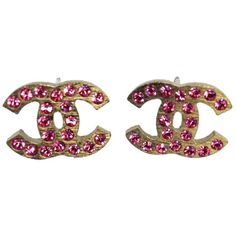 Pre-Owned Chanel #8292 Cc Pink Crystals Mini on Silver Hardware... (1.820 RON) ❤ liked on Polyvore featuring jewelry, earrings, purple, chanel, pink stud earrings, pink earrings, preowned jewelry and chanel jewellery