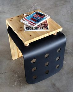 Side table made of a broken Ikea chair combined with fir 2x4's removed from a gallery installation. By Scott Yu-Jan of http://cargocollective.com/scottyujan, for a charity event https://www.facebook.com/basicdesignvan
