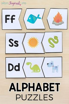 These alphabet puzzles make learning letters hands-on. This preschool and kindergarten alphabet activity is sure to be a hit! #alphabet #alphabetactivity #alphabetactivities #preschool #kindergarten #literacy