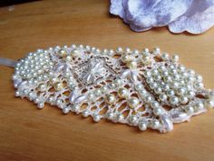 Hand embroidered vintage lace pearl beaded wedding cuff bracelet