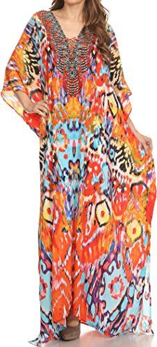 Sakkas SS1625 KF60025BT  LongKaftan Georgettina Ligthweight Printed Long Caftan Dress  Cover Up  Sunset Orange  Multi  OS ** Check this awesome product by going to the link at the image.