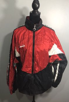 Vintage Mens Diadora Wind Breaker XL Red Black  | eBay Wind Breaker, Red Black, Rain Jacket, Best Deals, Coat, Jackets, Vintage, Clothes, Fashion