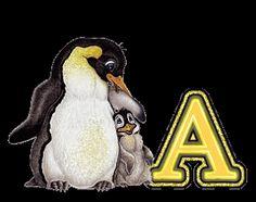 Alfabeto de pingüino con bebé.