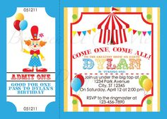 Carnival Circus Clown Birthday Party by BetweenUandMeDesigns, $12.00