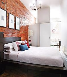 5 small space myths - Style At Home Red Brick Walls, Exposed Brick Walls, Style At Home, Small Space Living, Small Spaces, Brick Wall Bedroom, Space Interiors, Large Furniture, Wood Furniture