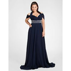 TS Couture Formal Evening / Military Ball Dress - Dark Navy Plus Sizes / Petite Sheath/Column Halter / Off-the-shoulder Sweep/Brush Train Chiffon – USD $ 129.99
