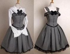 women gothic lolita jumper grey dress victorian costume cosplay lace up gray. - Mundane clothes and sewing - Pretty Outfits, Pretty Dresses, Beautiful Dresses, Cool Outfits, Gothic Corset, Gothic Lolita, Lolita Style, Victorian Gothic, Gothic Girls