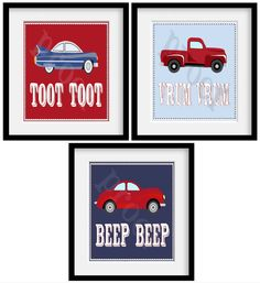 "Car themed room- SERIES 2 Vintage CARS. Pottery Barn Red Blue White Boys Room Theme. Set of 3 11x14"" Art Prints.. $39.95, via Etsy."