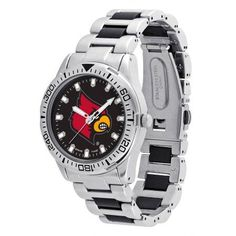 Game Time Ncaa Men's University of Louisville Cardinals Heavy Hitter Watch, Silver