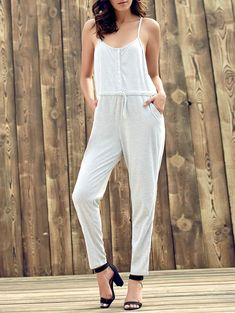 Leisure Style Sleeveless Spaghetti Strap Gray Waist Drawstring Jumpsuit For Women (LIGHT GRAY,XL) | Sammydress.com