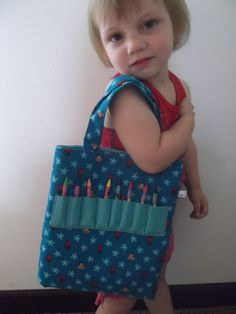 Kids activity bag with crayon holder sock monkey by lisalynnitems