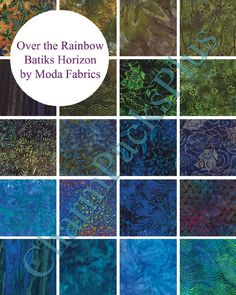 OVER THE RAINBOW Horizon by Moda Fabric - Charm Pack - Five Inch Quilt Squares Quilting Material Blue Green. $10.00, via Etsy.
