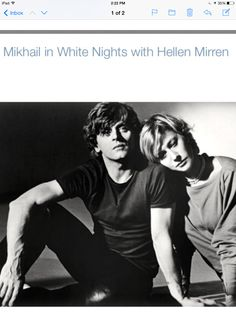 "Mikhail Baryshnikov & Helen Mirren in ""White Nights"" directed by Taylor Hackford, 1985 I Movie, Movie Stars, Dame Helen, Mikhail Baryshnikov, Helen Mirren, Portraits, Ballet Photography, Ballet Beautiful, Ballet Dancers"