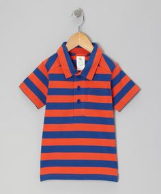 Take a look at this Tangerine & Navy Stripe Organic Polo - Infant & Toddler by Nosilla Organics on #zulily today!