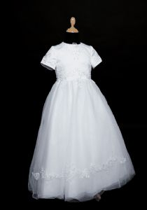 Butterfly Communion Dress - Short Sleeve White Satin Lace and Tulle Dress - 80344 Notre by Little People