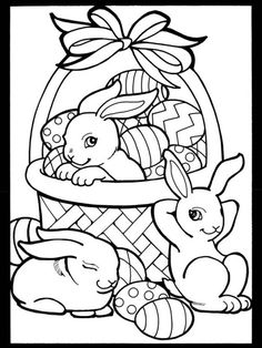 cute easter bunnies and basket full of eggs coloring page from the happy easter stained glass coloring book from the wonderful publisher dover