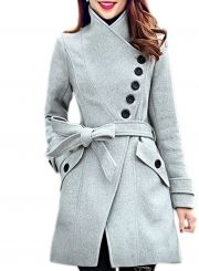 Women's Oblique Button High Neck Belted Coat