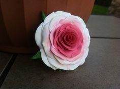 Pink Rose Polymer Clay Brooch by VividVioletDesigns on Etsy, $15.00