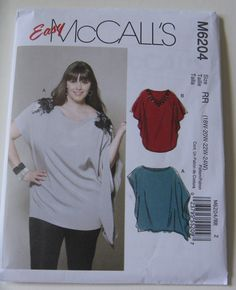 c35ed2850d3 Easy McCall s Sewing Pattern M6204 Women s Plus Size Tunics New and Uncut  Pattern