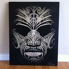 Just finished painting this Maori style mask for a tattoo client. 36 x 28 on a piece of wood.I kinda wanna keep it? Maori Tattoos, Tribal Face Tattoo, Tribal Tattoos, Sleeve Tattoos, Doodles Zentangles, African Warrior Tattoos, Tribal Paint, Maori Patterns, Maori People