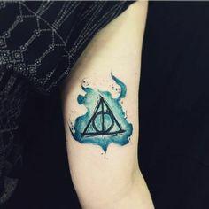 101 Harry Potter Tattoos That Would Make J. Rowling Proud Pin for Later: Harry Potter Tattoos That Would Make J. Rowling Proud Watercolor Deathly Hallows Bull Tattoos, Body Art Tattoos, New Tattoos, Tattoos For Guys, Fandom Tattoos, Arrow Tattoos, Tatoos, Dna Tattoo, Get A Tattoo