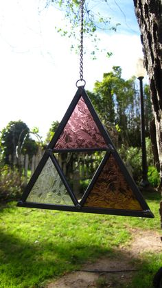 Handmade Hanging Stained Glass Triangle Sun Catcher by FluxSoda