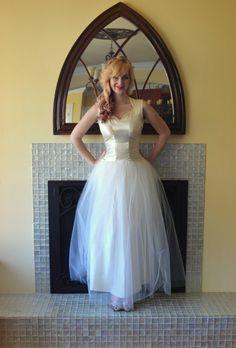 Vintage 30s 40s Wedding Dress Crystal Beaded by DaintyRascal, $245.00