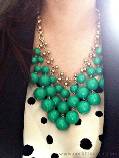 green statement necklace - stella and dot...try the Olivia necklace with same jacket/sweater and top. #StellaDotStyle www.stelladot.com/elainemarshall