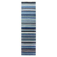 Blue Ocean Stripe Runner | Dunelm