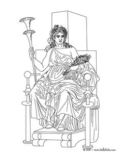 coloring pages of goddesses for free | DEMETER the Greek goddess of the harvest coloring page