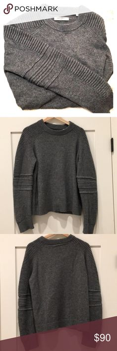 """AllSaints Crewneck Wool/Cashmere Sweater Trending """"Moto"""" style AllSaints knit sweater. Bought at end of 2017 season, only worn twice. A bit too big for me. It's a large and runs true to size. Wish I had got a medium because I love this piece. All Saints Sweaters Crew & Scoop Necks"""