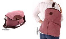 Women's canvas backpack, pink color, leather canvas bag, convertible backpack, womens backpack, convertible crossbody, convertible messenger