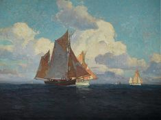 The Fleet Returning At Day's End By Edgar Payne . Truly Art Offers Giclee Unframed Prints on Paper, Canvas Art, and Framed Art in all our Collections. Edgar Payne, Oil On Canvas, Canvas Art, Composition Design, Landscape Artwork, Outdoor Paint, Western Art, Impressionist, Framed Art