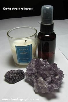 Some go-to stress relievers after a long day are scented candles, Lavender essential oil spray, Lepidolite and Amethyst.  Code HCPIN10 = 10% discount  Candles: http://www.healingcrystals.com/advanced_search_result.php?dropdown=Search+Products...&keywords=candles  Lepidolite: http://www.healingcrystals.com/advanced_search_result.php?dropdown=Search+Products...&keywords=lepidolite