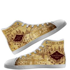 Custom Hi Tops Shoes Harry Potter Mauraders Map Unisex by Bunchabe
