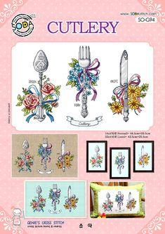 CUTLERY  Cross stitch pattern leaflet. Big by GeniesCrossstitch