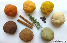 Homemade Herb and Spice Play Dough 1/2 cup AP flour (plain flour) 1/2 cup water 2 tbs salt 1 tsp cream of tartar Herbs and spices (see below) turneric, cinnamon, cocoa, paprika, ground rosemary...