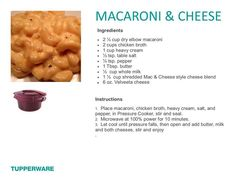 Macaroni and cheese for the Tupperware pressure cooker (618) 340-1779