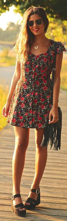 Summer trends | Floral dress, sandals, handbag: @roressclothes closet ideas #women fashion outfit #clothing style apparel