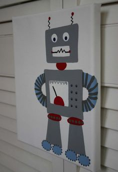 Affordable Original Painting Nursery Art, Kids Room - Robots (Two 8 x 10 Canvases)