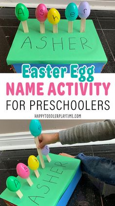 Easter Egg Name Activity for Preschoolers - HAPPY TODDLER PLAYTIME Easter Activities For Kids, Name Activities, Kids Learning Activities, Spring Activities, Preschool Activities, Easy Easter Crafts, Kids Crafts, Egg Names, Preschool Writing