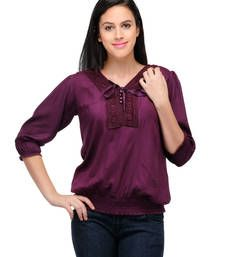 Buy Purple plain tops top online